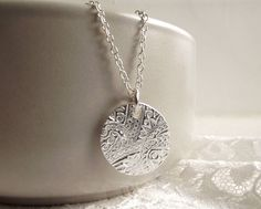 Silver Textured Round Pendant