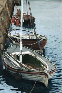 """""""Boats at Portsoy ll"""" - After having success with my first painting """"Boats at Portsoy"""" in black and white, I thought painting it in colour would be fun."""