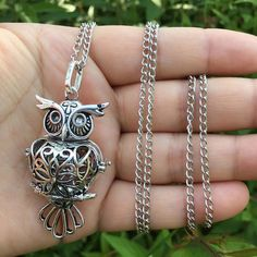 Owl Locket Necklace Perfume Fragrance Essential Oil Aromatherapy Diffuser gift #Feixingjewelry #Pendant
