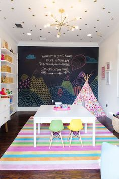colourful playroom with chalkboard wall