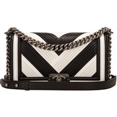 Pre-Owned Chanel Paris In Rome Black and White Pleated Calfskin Medium... ($7,175) ❤ liked on Polyvore featuring bags, handbags, bolsa, chanel, black, multi colored handbags, pre owned handbags, multi color purse and pocket purse