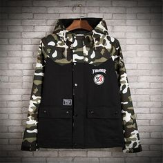 Brand Thrasher jacket men 2015 fashion harajuku hip hop jacket streetwear lovers Camouflage/Leopard casual jackets outdoor coats