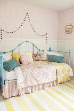 Cute and Pretty Little Girls Bedroom Makeover - Romantic Lace Stencils and Colorful Decor - Royal Design Studio Wall Stencils for Kids Rooms Teen Girl Bedrooms, Little Girl Rooms, Blue Bedroom Ideas For Girls, Colorful Girls Room, Blue Girls Rooms, Colourful Bedroom, Vintage Girls Rooms, Girls Bedroom Colors, Girls Room Design