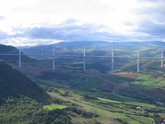The Millau Viaduct, the world's tallest bridge. Located in the south of France, it connects France and Spain creating a direct route from Paris to Barcelona. Length, 2,460 meters, height, 343 meters.