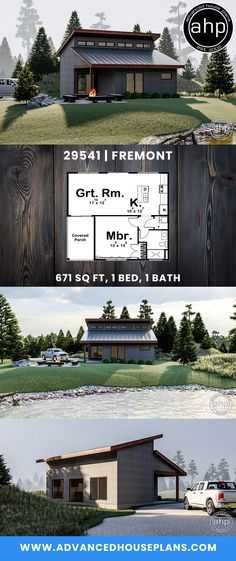 Modern Cabin Plan – rustic home interior Modern Small House Design, Small Modern Home, Tiny House Design, Small House Floor Plans, Modern House Plans, Architecture Design, Haus Am See, Cabin In The Woods, Kabine