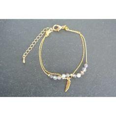 Bracelet plume dorée et agates