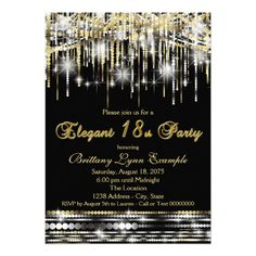 440 best 18th birthday party invitations images on pinterest in 2018 glam black gold elegant 18th birthday party invitation filmwisefo