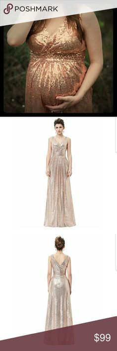 0cdca9b9 Rose Gold Blush Pink Sequin Maternity Dress Sequin Maternity Dress  Available in Champagne, Gold and