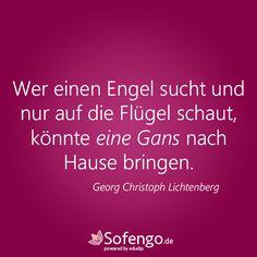 Wer einen Engel sucht und nur auf die Flügel schaut, könnte eine Gans nach Hause bringen. Georg Christoph Lichtenberg #Zitat