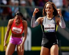 Sanya Richards-Ross reacts after winning the women's 400m finals at the U.S. Olympic Track and Field Trials Sunday, June 24, 2012, in Eugene, Ore. She is headed to the 2012 London Olympics and the favorite to win the Olympic Gold.  #TeamUSA