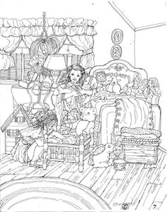 Adult COLORING PAGE Printable Art Instant Download Pen Drawing Coloring Page Little Girlfriends Dolls BedroomNostalgia Girls Room Decor