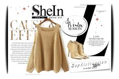 """""""Shoulder Knit Loose Sweater"""" by amerlinakasumovic ❤ liked on Polyvore featuring Envi, Jimmy Choo and shein"""