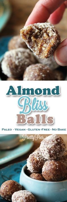 Just 5 ingredients and less than 5 minutes to make these chewy sweet bites of bliss! Free from gluten/grains, dairy, added sugar, eggs, soy and oil. Almond Bliss Balls (Vegan, Paleo) from PrettyPies.com