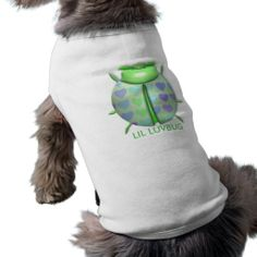 "Green 3D ""Lil LuvBug"" w/Hearts Doggie Tank-Top Doggie Shirt"