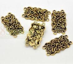 Gold Tone Flower Pattern Connectors