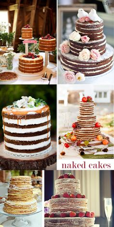 Bijou: Naked Wedding Cakes  -- I like all of these... the top left with different tiers is neat ... drippage action is interesting too