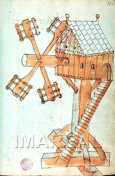 Windmill, Kyeser's Bellifortis (ÖNB 5278, fol. 173r), c. 1400-1425