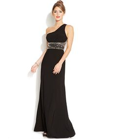 Hailey Logan by Adrianna Papell Juniors' One-Shoulder Gown $159 comes in blue and black, REALLY COOL BACK!!