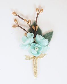 Handmade Silk Flower Wedding Boutonniere - Mint Green, Pale Aqua & Gold - Keepsake for Groom or Groomsmen - Buttonhole, Lapel Pin by Sweet Little Sparrow