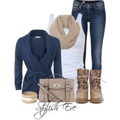 Casual--medium wash jeans, white tank, chunky neutral scarf, cross-over belted sweater, tan Troopa boots.