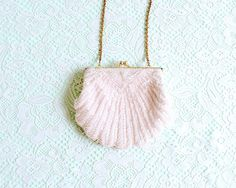 Vintage 1950's Beaded Shell Purse - Pink White