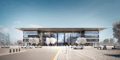 """Designs Unveiled for Foster + Partners' """"Health Education Campus"""" in Cleveland,© Foster + Partners, Courtesy of Case Western Reserve University Tropical Architecture, Architecture Design, Foster Partners, Norman Foster, Architecture Visualization, Building Exterior, Health Education, Sustainable Design, School Projects"""