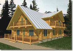 *Log Home *Beach/Coastal Style *Large Living Room *Large Master Suite *Balcony Off Master Suite *Large Recreation Room *Large Deck Area *Utility Ro. Log Cabin House Plans, A Frame House Plans, Rustic House Plans, Log Home Plans, A Frame Cabin, Log Cabin Homes, Country House Plans, Country Style Homes, House Floor Plans