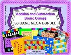 These 30 fun addition and subtraction board games are perfect for reinforcing concepts and engaging early finishers. With three levels of differentiation, it makes catering for the needs of your whole class super easy! No prep -- simply print and go! All you need are dice and counters. Instructions and motivational certificates are included.