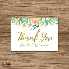 Floral Thank You Card, Baby Shower Thank You Card, Bridal Shower Thank You Card - rustic watercolor roses green olive pink blush - Monique by DIVart on Etsy