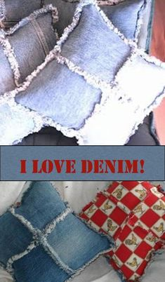 Recycled Denim Pillows is a craft tutorial that shows how to use an old pair of jeans cut into squares, sewn together with frayed edges for throw pillows.