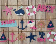 Nautical Baby Shower Banner Ahoy Girl Nautical by HappyBanners