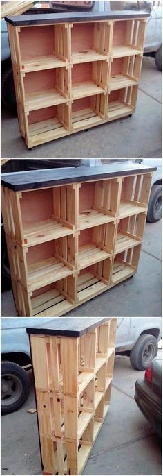 How about adding this brilliant wood pallet shelving cabinet in your house to give out a favorable attractive look? It would look so impressive and inspiring for your guests. As divided into various divisions of the shelves, this wood pallet structure is so inspiring looking.
