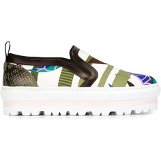 MSGM Platform Slip-on Sneakers ($236) ❤ liked on Polyvore featuring shoes, sneakers, brown, brown sneakers, brown platform shoes, slip on shoes, platform trainers and platform shoes