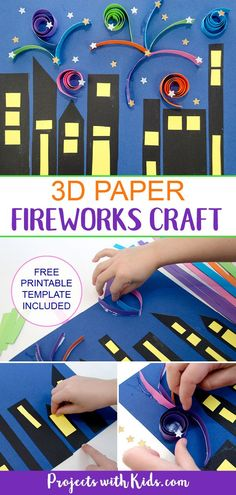 Paper Fireworks Craft with Printable - - Make this colorful festive fireworks craft that kids will love! A super easy paper craft with a free printable template included. Winter Crafts For Kids, Craft Projects For Kids, Craft Activities For Kids, Preschool Crafts, Bonfire Crafts For Kids, Montessori Activities, Winter Activities, Craft Ideas, Fireworks Craft For Kids