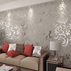 new designer flocking textured grey color font b wallpapers b font font b discount b font Papier Peint Salon - De décoration murale de la maison