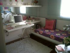 Idéia p/ quarto pequeno clean