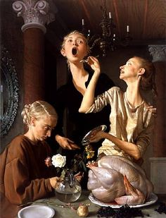 John Currin (born 1962) is an American painter-ThanksgivingJohn Currin...More Pins Like This At FOSTERGINGER @ Pinterest