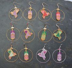 boucles d'oreille créoles plume et oiseau origami perles Miyuki More