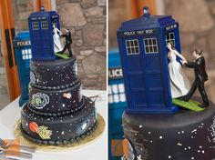 Doctor Who wedding cake. I would use this arrangement over the guy leading, since I'm the one who usually brings someone on a nerd journey.