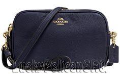 COACH 65547 Crossbody Clutch Messenger Bag Light Gold/Navy Blue NWT #Coach #MessengerCrossBody