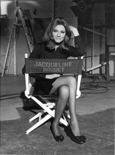 Jacqueline Bisset on set. Director's Chair. #Beauty #BlackandWhite #ScreenSirens