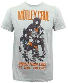 8fb701b13 Motley Crue Men's Vintage World Tour 1983 Slim-Fit T-Shirt Silver:  Officially licensed Motley Crue merchandise. Top Vintage Style · Vintage Band  T-shirts
