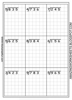 Long division worksheets ... free... using graph paper keeps the numbers lined up!