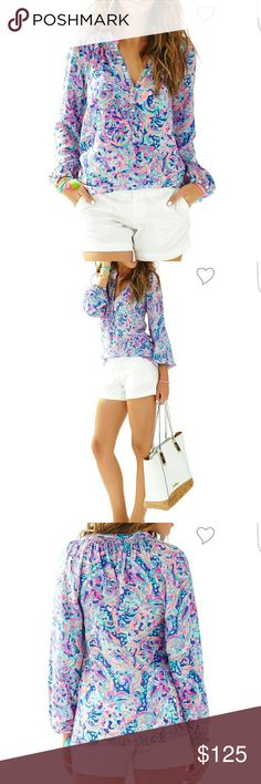 Lilly Pulitzer Elsa blouse. La playa . Lilly Pulitzer Elsa Silk Top Product Description Get ready for a style epiphany: this silk blouse is the secret workhorse of your closet. You can wear the Elsa Top tucked in or worn out, sleeves pushed up or blissfully long, styled with a belt over leggings, peeking out from under a blazer, draped over the top of a pencil skirt...Elsa is one shirt with an endless number of looks year-round. This season, we're making Elsa's job a little easier by…