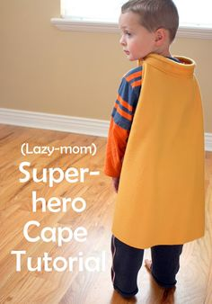Super easy Superhero Cape Tutorial Today's idea is an EASY (and cheap!) almost no-sew (just one easy seam) Superhero Cape. Cape Tutorial, Sewing Tutorials, Sewing Projects, Tutorial Sewing, Sewing Crafts, Diy Projects, Diy Trend, Learn To Sew, Costume Ideas
