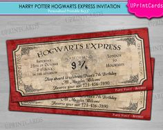 DIY PRINTABLE - Hogwarts Express - Harry Potter Ticket  Birthday Party - Personalized - Digital Printable Invitation Boarding Pass JPEG file. $9.00, via Etsy.
