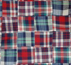 Three Chickadees Patchwork Madras Fabric by the Yard ~ Camden Light Flannel #Handmade