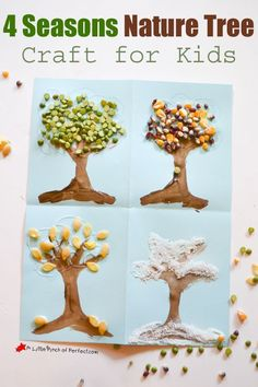 Nature Art - 4 Seasons Nature Tree Craft for Kids-Use natural craft supplies to decorate painted trees for spring, summer, fall, and winter. Nature Crafts, Fall Crafts, Arts And Crafts, Summer Crafts, Seasons Activities, Craft Activities For Kids, Craft Kids, Indoor Activities, Kindergarten Activities