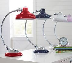Arc Task Lamps in White or Lavender
