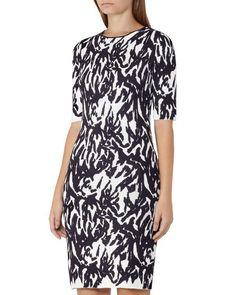 Reiss Alisha Printed Knit Dress